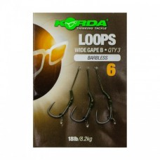 Поводок готовый Korda Loop Rigs DF Wide Gape Barbless №6 18lb безбородый